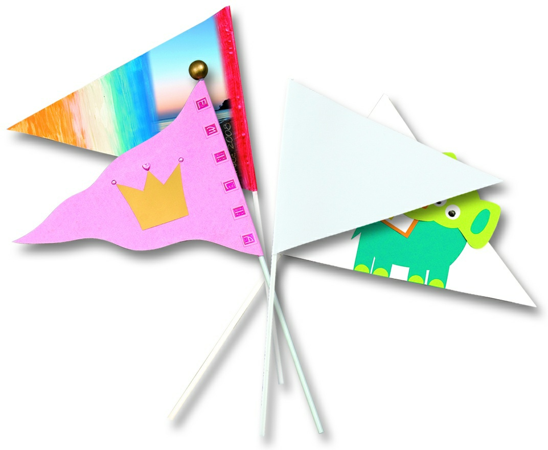 Papierové vlajky - 20 ks, dĺžka 27 cm