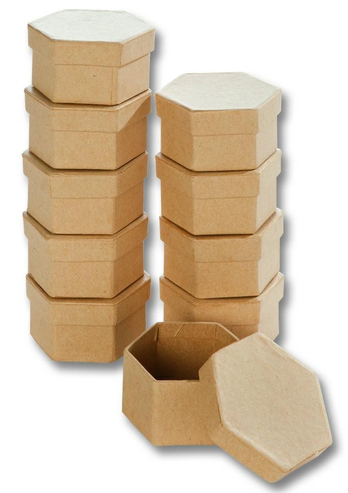 b6effbd46 Krabičky mini - 7,5x6,5x4 cm, šesťhranné - natur, 10 ks