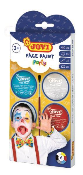 JOVI PARTY farby na tvár 6x8ml, 2x aplikátor, 1x štetec, 1x návod